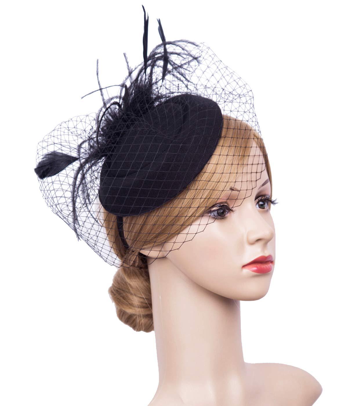 K.CLASSIC Fascinator Hair Clip Pillbox Hat Bowler Feather Flower Veil Wedding Party Hat (Black5)