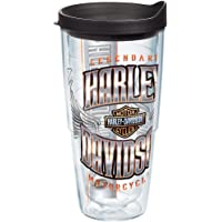Tervis 1239325 Harley Davidson - Chrome Wing Logo Insulated Tumbler with Wrap and Black Lid, 24oz, Clear