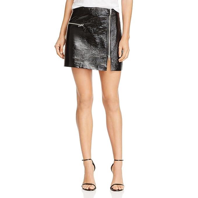 37b4c2d86c [BLANKNYC] Blank NYC Womens Metallic Patent Leather Mini Skirt Black 24