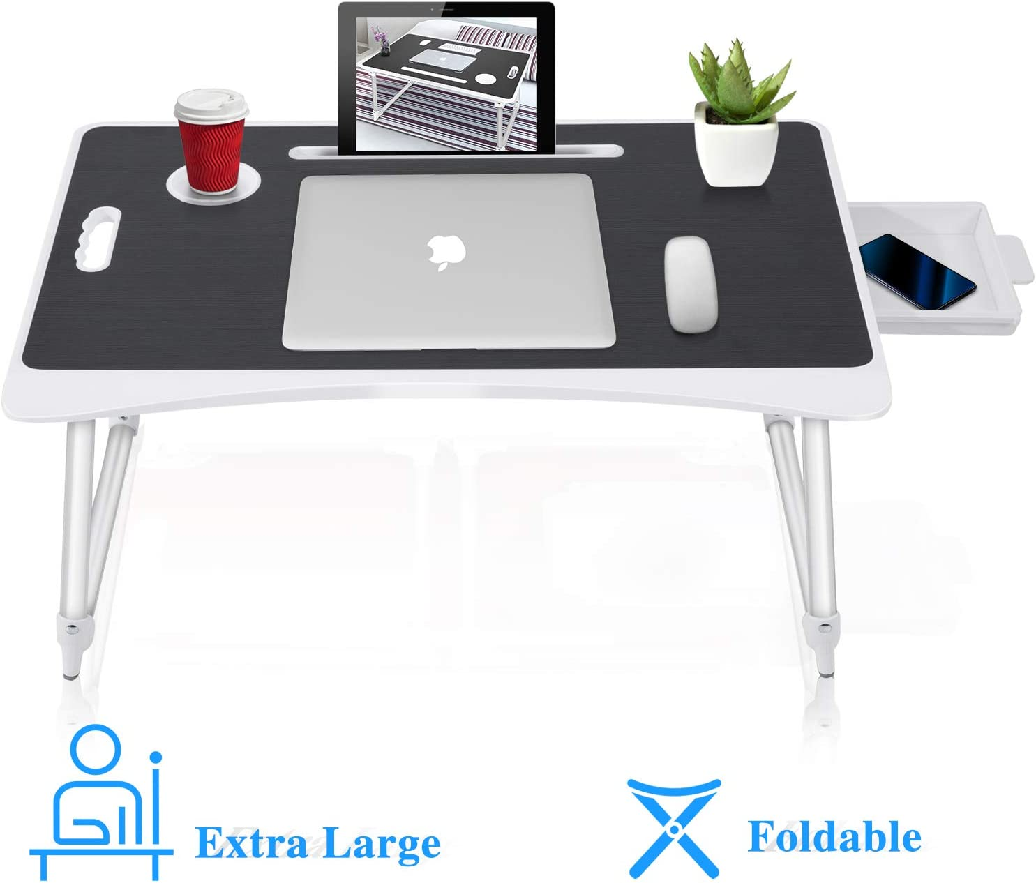 SUNPOLLO Folding Laptop Lap Desk for Bed & Sofa, Multi-Function Couch Table, Laptop Bed Tray Desk with Storage Drawer and Cup Holder for Writing, Studying, Eating, Reading, Extra Large