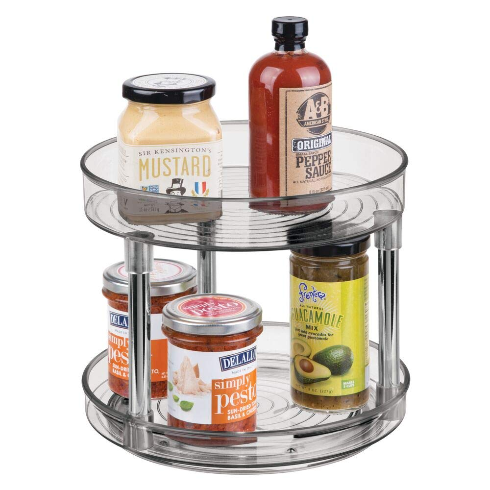 "mDesign 2 Tier Lazy Susan Turntable Food Storage Container for Cabinets, Pantry, Fridge, Countertops - Spinning Organizer for Spices, Condiments - 9"" Round - Smoke Gray/Chrome"