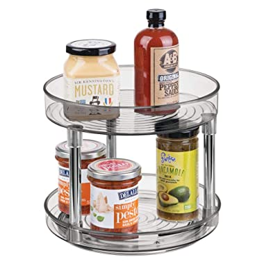mDesign 2 Tier Lazy Susan Turntable Food Storage Container for Cabinets, Pantry, Fridge, Countertops - Spinning Organizer for Spices, Condiments - 9  Round - Smoke Gray/Chrome