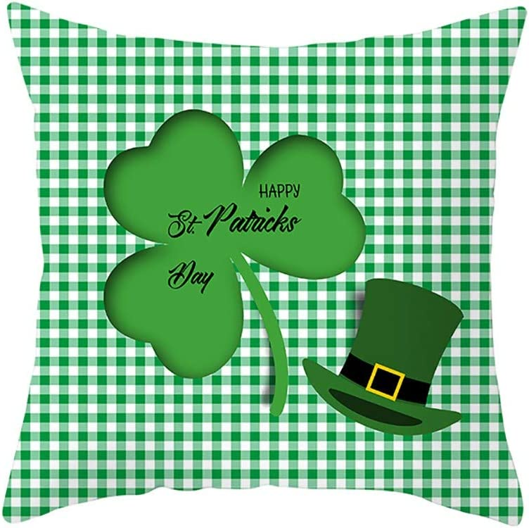 Patricks Day Pillow Case Shamrock Cushion Cover with Invisible Zipper for St St Patricks Day Home Office Supplies