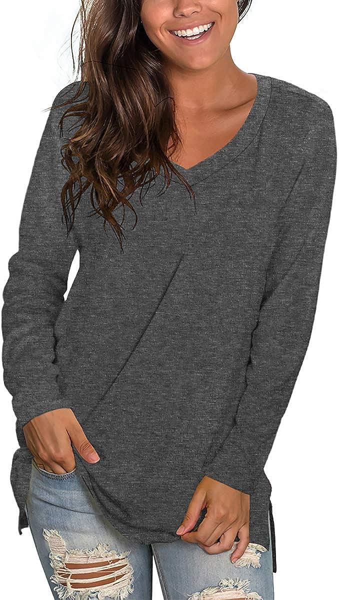 Womens Long Sleeve T Shirts V Neck Cute Tops Side Split Tees Tshirt S-XXL