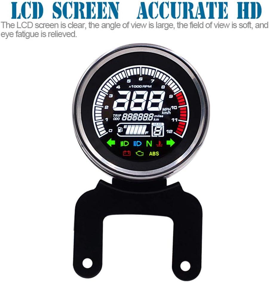 Kit Indicatore Tachimetro con Supporto Contachilometri Moto 12000rpm Multifunzione con Display LCD KKmoon Contagiri per Moto