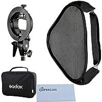 Godox 80x80 Foldable Universal Softbox with S Style Speedlite Bracket for Flash Bowens Mount Accessories Direction Adjustable (80cmx80cm Set)
