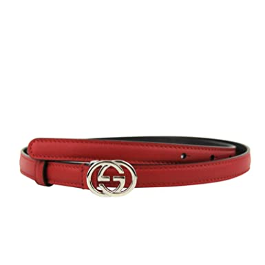 a5df1080d69 Gucci Women s Silver Interlocking G Red Leather Skinny Thin Belt Buckle  370552 6523 (95