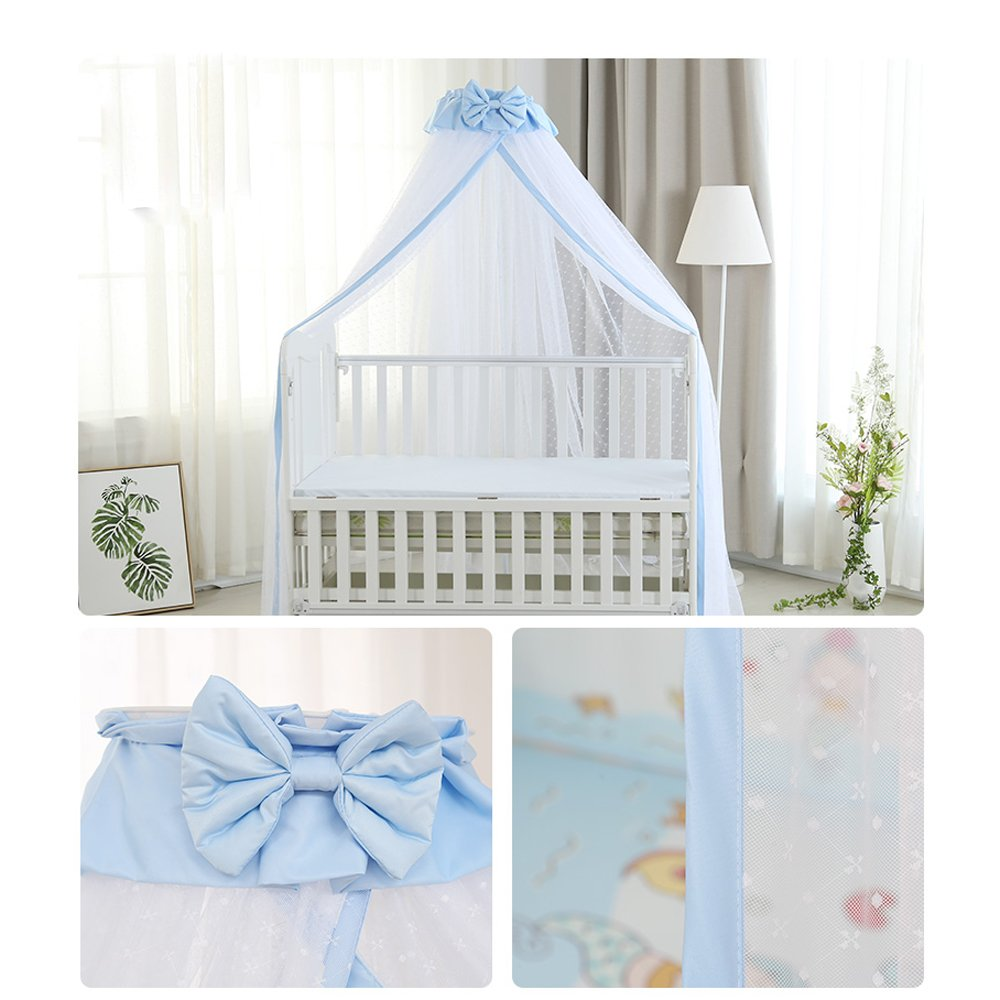 CdyBox Breathable Crib Netting Bed Curtains Canopy for Kids Mosquito Net Bedroom Decor (Blue, Mosquito net+Stand) by CdyBox (Image #3)