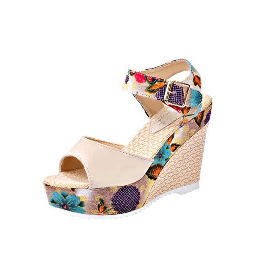 Bohemian Sandals,Boomboom Women's Wedge Sandals Summer Platform Toe High-Heeled Shoes (Beige,US 6.5)