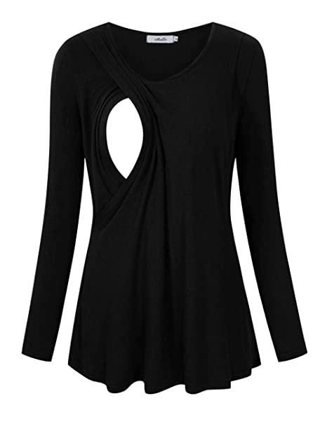 0c7aa6460128d Image Unavailable. Image not available for. Color: MissQee Maternity  Nursing Tops Long Sleeve Breastfeeding T-Shirts M ...