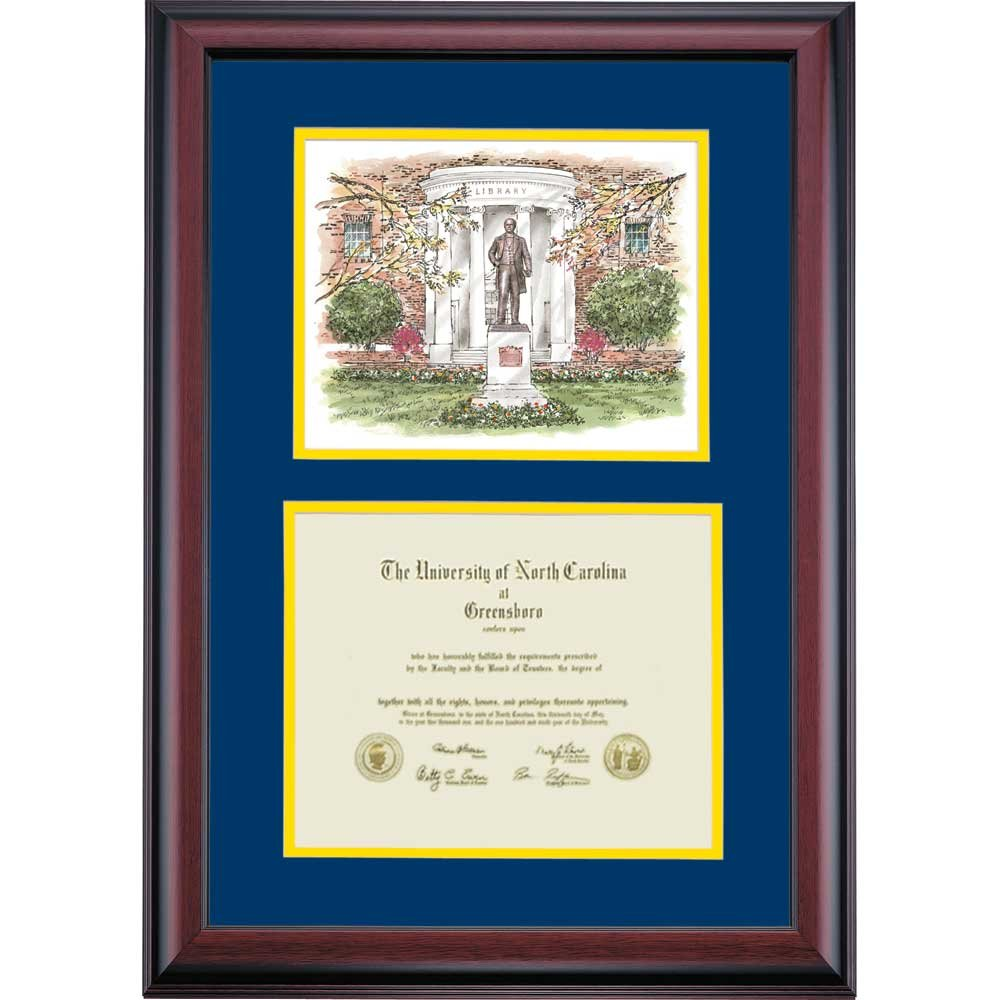UNC Greensboro Spartans Diploma Frame Navy Gold Matting Watercolor by Campus Linens