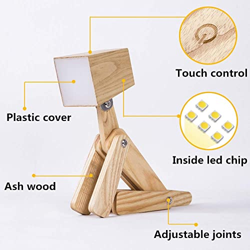 HROOME Modern Cute Dog Adjustable Wooden Dimmable Beside Desk Table Lamp Touch Sensor with Night Light for Bedroom Office Kids Warm white 2800-3200k