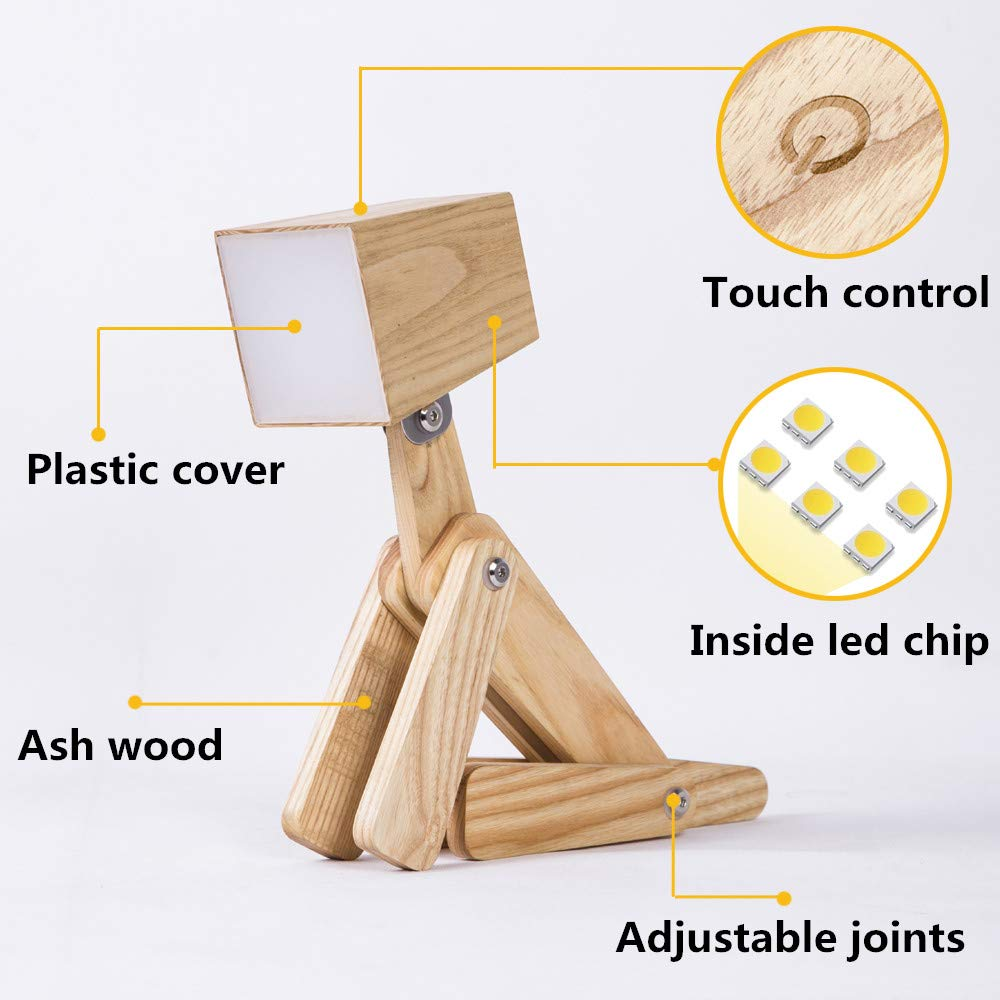 HROOME Modern Cute Dog Adjustable Wooden Dimmable Beside Desk Table Lamp Touch Sensor with Night Light for Bedroom Office Kids (Wood Body-Neutral Light 4000-5000k) by HROOME (Image #3)