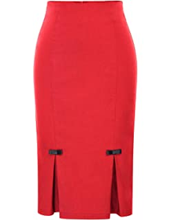 73a804b16 Belle Poque Womens Vintage 40s Solid Midi Bodycon Skirts Daily Casual GF587