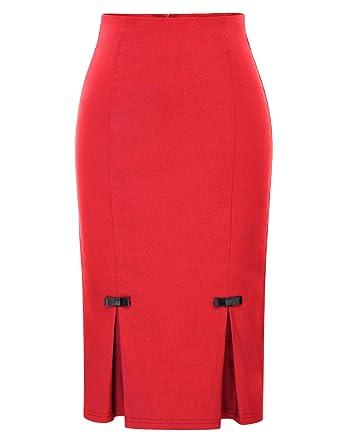 7e927d501 Belle Poque Women's Retro Midi Pure Stretchy Bodycon Split Pencil Skirt  Red(587-3