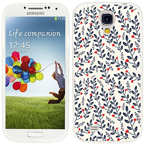 S4 Case,Samsung S4 Case,Galaxy S4 Case,ChiChiC full Protective Case slim durable Soft TPU Cases Cover for Samsung Galaxy S4 I9500 I9505 Galaxy S IV,red heart love flower blue slate ()