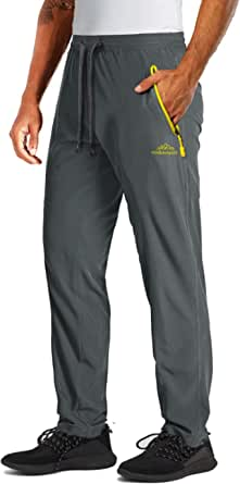 MAGCOMSEN Men's Joggers with Zipper Pockets Open Bottom Quick Dry Summer Hiking Gym Workout Yoga Running Pants
