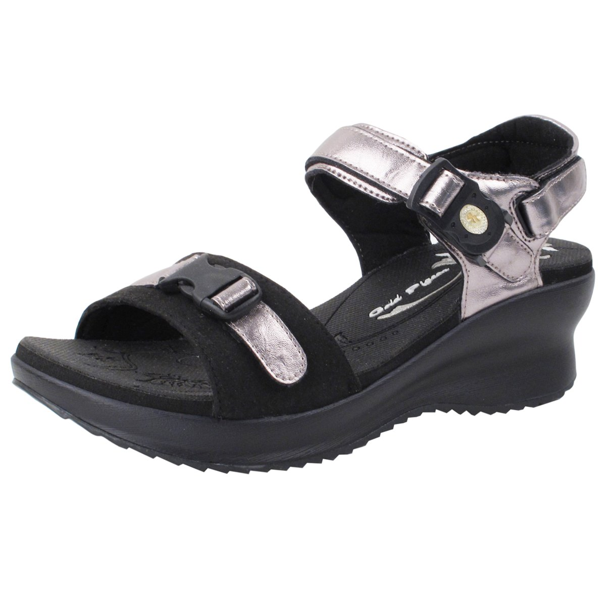 Gold Pigeon GP5974W (Size 4.5-8) Easy Magnetic Snap Lock Closure Light Weight Comfort Platform Sandals (Size 4.5-8) B07BC6RPYS EU37: US 6/6.5|Black Rose Gold