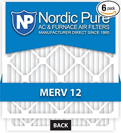 Nordic Pure 8x24x1 Exact MERV 12 Pleated AC Furnace Air Filters 3 Pack