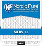 20x20x1-MERV 12 A/C Furnace Air Filters by Nordic Pure (Box of 6)