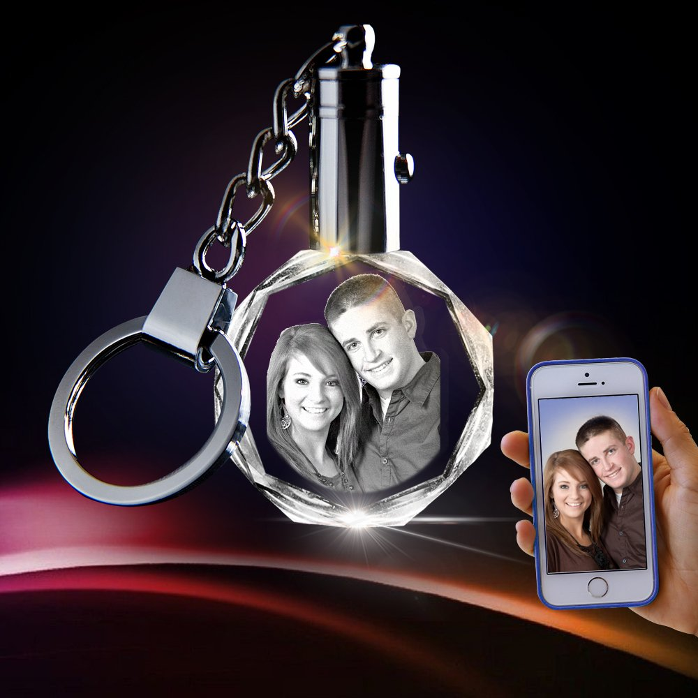 3D innovation Crystal Key Chain - Unique Custom Gift (Round Keychain)