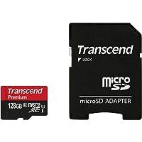 Transcend TS128GUSDU1 Premium Class 10 microSDXC 128GB Speicherkarte mit SD-Adapter (UHS-I, 60 Mbps Lesegeschwindigkeit)