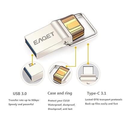 Eaget Dual USB Flash Drive 3 0 Type C OTG Memory Stick 64GB Metal Case  Keyring Waterproof Shockproof CU10