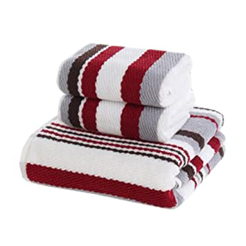 3 pcs Hogar regla toalla de playa toalla de baño toalla de mano toallas de elegante de traje rojo: Amazon.es: Hogar