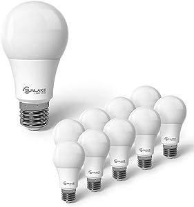 SunLake Lighting 10 Pack A19 Standard LED Light Bulb, 15W=100W, 1600 LM, 5000K Daylight, E26 Base, Multiple Use - Including Ceiling Fan Light Bulb and Bathroom Light Bulb - UL & Energy Star