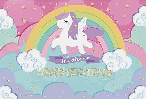 AOFOTO 10x7ft Cute Unicorn Backdrop Happy Birthday Photography Background Sweet Rainbow Cartoon Clouds Abstract Stars Girl