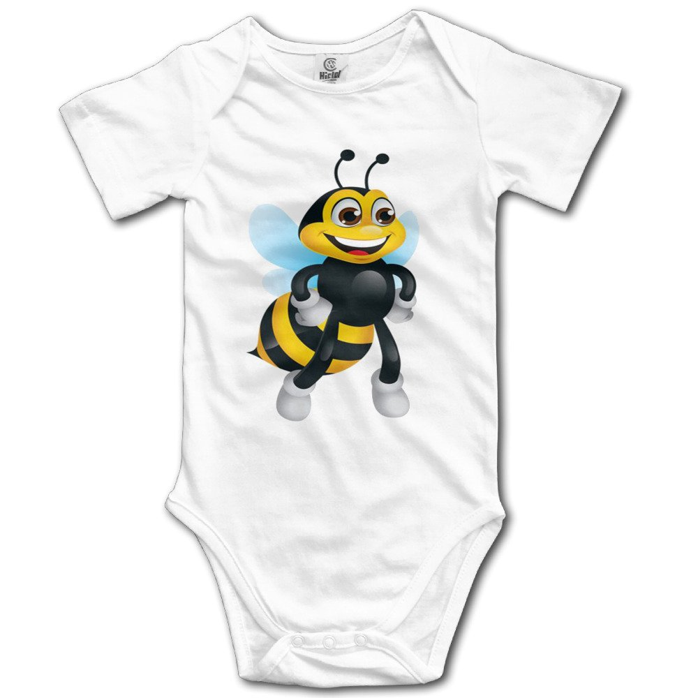 Motivational Cartoon To Bee Strong Cute Baby Tightly Casual Short-sleeved Climbing ClothesWhite