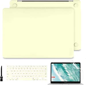 Batianda 2020 2019 2018 MacBook Air 13 Case A2179 A1932, Ultra Slim Smooth Hard Shell Cover for New MacBook Air 13.3 Inch Retian & Touch ID with Keyboard Cover & Screen Protector - Mellow Yellow