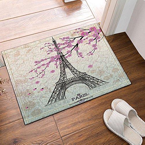 NYMB Paris City Decor, Eiffel Tower with Cherry Blossoms Bath Rugs, Non-Slip Doormat Floor Entryways Outdoor Indoor Front Door Mat, Kids Bath Mat, 15.7x23.6in, Bathroom - Flannel Tower Eiffel