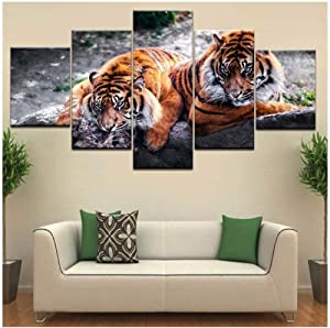 GDPOOTREE 5 Pieces Decorative Paintings Wall Pictures Bengal Tiger African Animal Canvas Painting Prints and Posters Home Decor Size3 No Frame