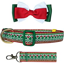 """Pet Rejoir Creative Christmas Dog Collar with Removable Bow Tie- Spring Heart and Festive Trees Holiday Dog Collar- Neck 15~19"""" Adjustable Collar for Medium Dogs"""