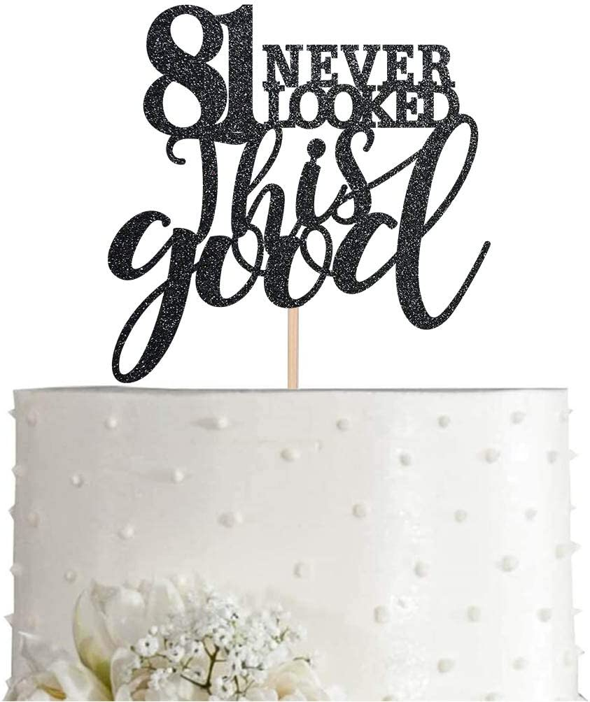 Cheers to 81 Years Party Cake Topper Decorations Supplies 81 Black Glitter Happy 81st Birthday Cake Topper