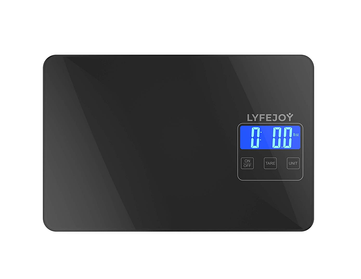 Lyfejoy Digital Kitchen Scale Weight Grams and Ounces for Cooking, Diet, Food Preparation, High Precision Milligram Sensitive Portable Stainless Steel Backlit Display, Black Tempered Glass, 15kg/33lbs