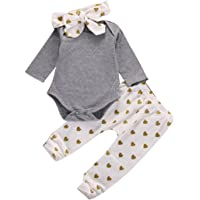 Transer Baby Rompers+Long Pants+Headbands Newborn Clothes, Boys & Girls Outfits 0-18 Months Infant Playsuits Tops Kids Jumpsuits+Trousers+Hats Toddlers Bodysuits