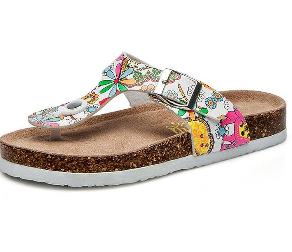 ZKOO Clip Toe Tongs Sandales Femmes Sangle Boucle Li/ège Tongs Chaussures de Plage Flats Chaussures Flip Flops