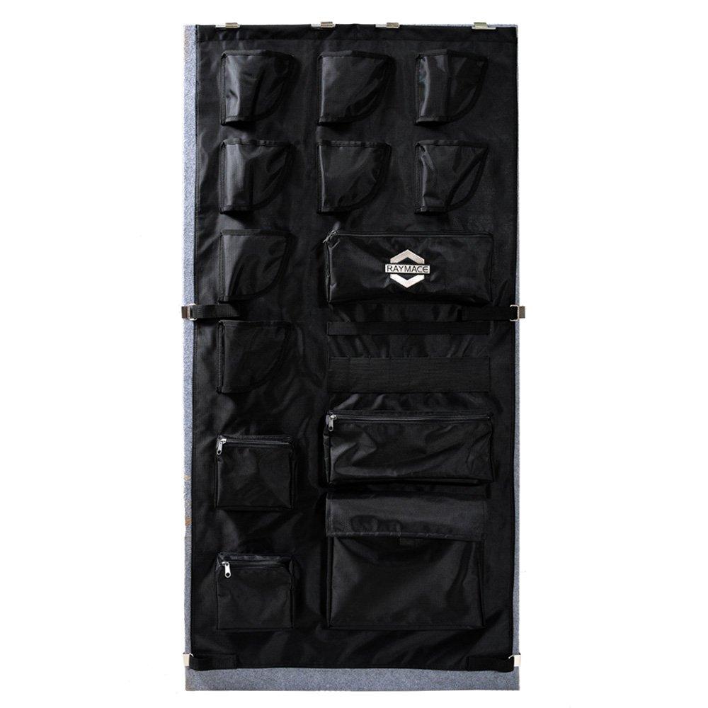 RAYMACE Large Gun Safe Door Panel Organizer 25 1/4W-28 3/4W inch50H inch Adjustable Storage Solution Long Gun Cabinets Black