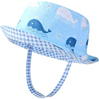 VBIGER Kids Cotton Bucket Hat Reversible Sun Hat Foldable Beach Cap with Adjustable Chin Strap,Aged 1-6