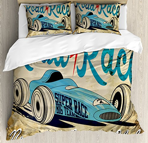 - Ambesonne Cars Duvet Cover Set, New York Racing Club Race Car from Twenties Road Race Team Old School Cool Design, Decorative 3 Piece Bedding Set with 2 Pillow Shams, Queen Size, Brown Aqua