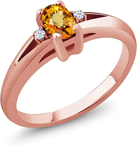 0.59 Ct Oval Yellow Sapphire White Topaz 925 Sterling Silver Ring
