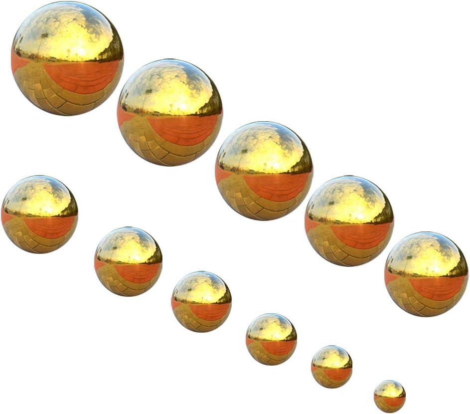 Pack of 4 Golden Stainless Steel Gazing Ball Seamless Mirror Balls Sphere Hollow for Outdoor Garden 76~120mm//3~5inch