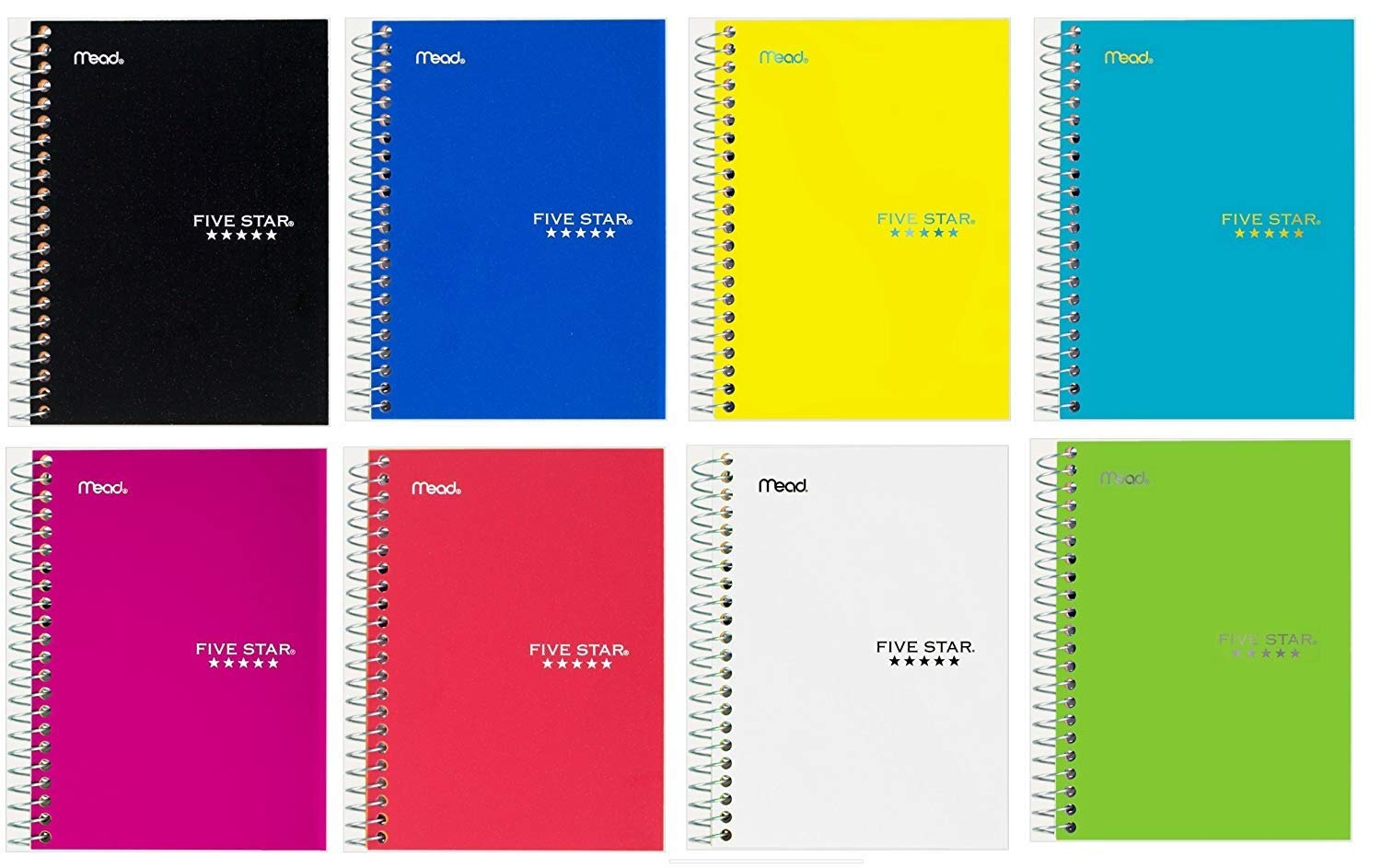 Five Star Personal Spiral Notebook, 7'' x 4 3/8'', 100 Sheets, College Rule, Assorted Colors, 8 Pack (45484)