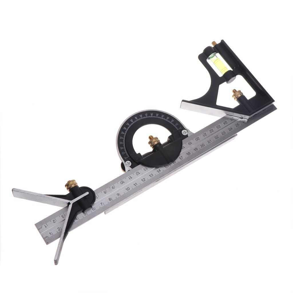 Misright 30cm Combination Tri-Square Ruler Level Steel Measuring Angle Tool Multi-Purpose