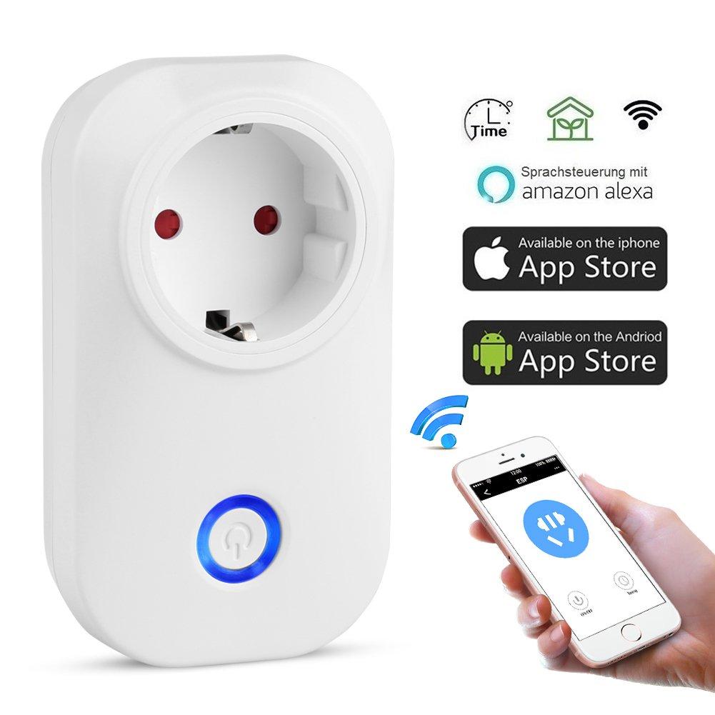 Wifi Smart Steckdose,Solocil WLAN Steckdose Smart Wifi Steckdose mit  Alexa[Echo, Echo Dot]und Google Home mit App Steuerung ü berall und zu jeder Zeit fü r IOS und Android