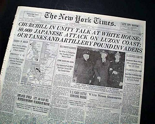 winston-churchill-arrives-in-wash-dc-visits-white-house-1943-wwii-newspaper-the-new-york-times-decem