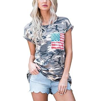 Blusa de mujer Daoroka sexy camuflaje bandera americana estampado manga corta casual suelto camiseta