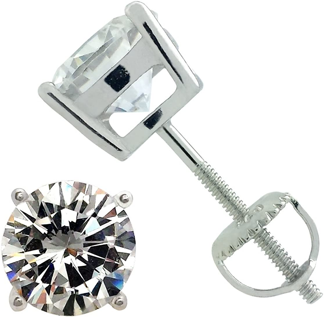 Rodhium On .925 Sterling Silver 6mm Round Clear Cz Crystal Stud Earring Post